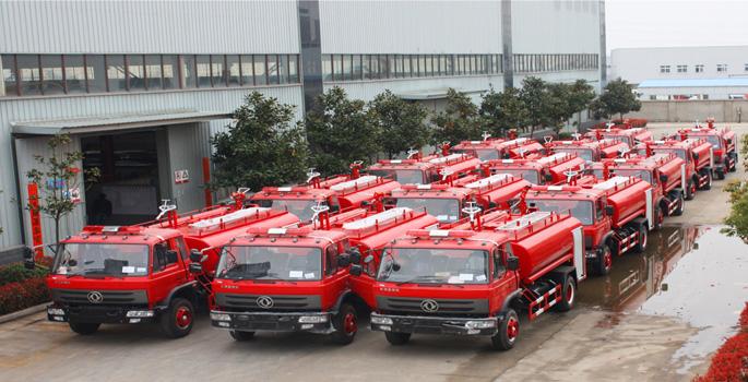 甘肃的江总订购的14台东风消防洒水车检测合格发车