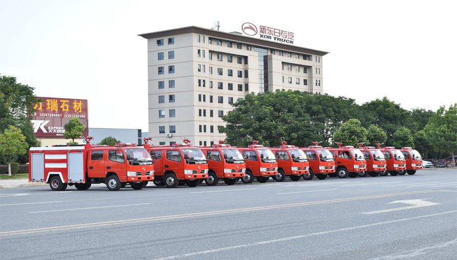 外贸部10辆东风凯普特水罐消防车即将出口东南亚