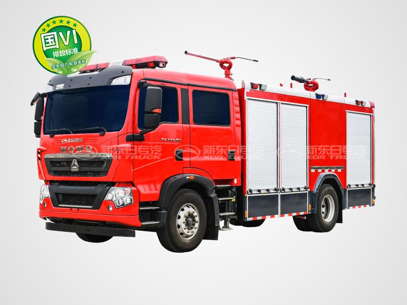新东日牌 国六 6.5吨    豪沃单桥干粉泡沫联用消防车